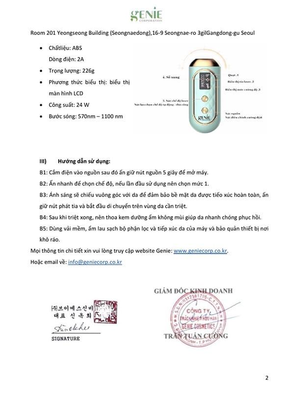 Máy Triệt Lông Genie Lazer IPL Hàn Quốc